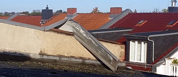 Dachschaden nach einem Sturm in Köthen