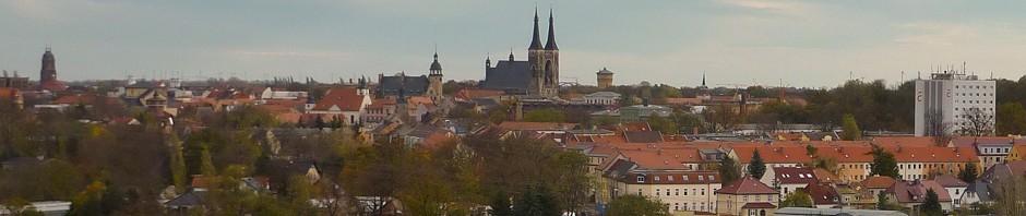 Wohnungen mieten in Köthen - Skyline der Stadt mit Schloß, Rathaus, Kirche, Hochhaus der Hochschule
