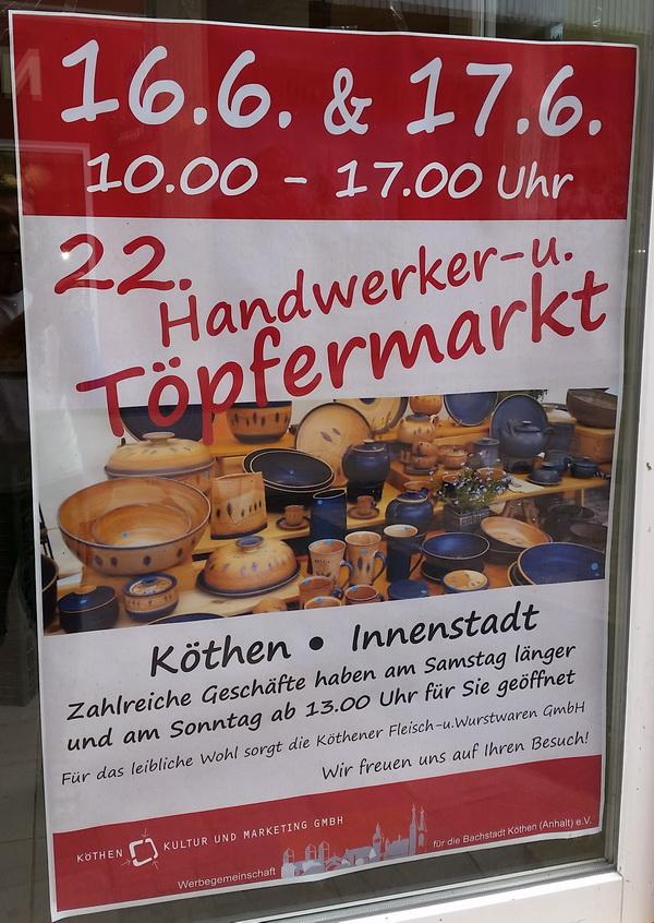 Plakat vom Handwerker und Töpfermarkt im Juni 2018 in Köthen