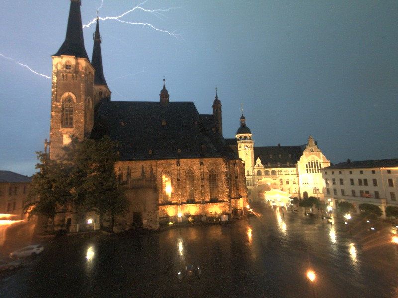 Blitzeinschlag in eine Turmspitze der Jakobskirche am 05.07.2015